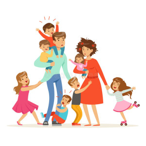 large-family-many-children-kids-babies-their-tired-parents-vector-illustration-isolated-white-background-94670539